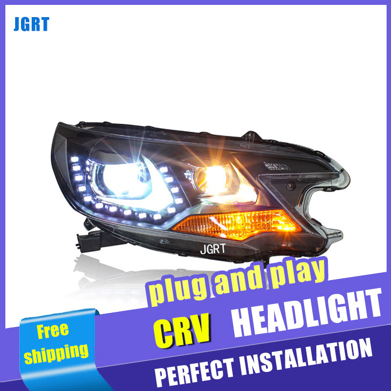 Car Styling Headlight assembly 2012-2014 for Hond CRV DoubleU Angel Eye LED DRL Lens Double Beam H7 hid kit with 2pcs. hireno headlamp for 2003 2009 toyota land cruiser prado headlight assembly led drl angel lens double beam hid xenon 2pcs