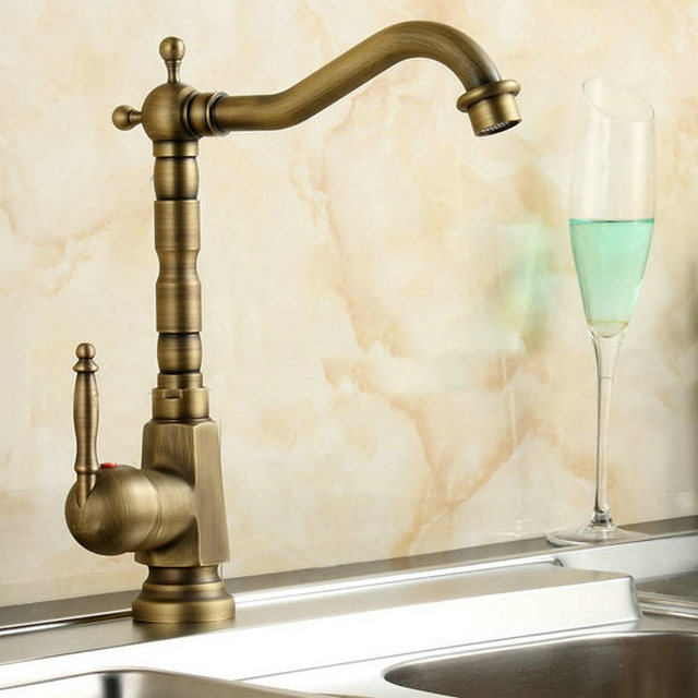 Antique Brushed Brass Kitchen Faucet Solid Brass Bathroom Swivel