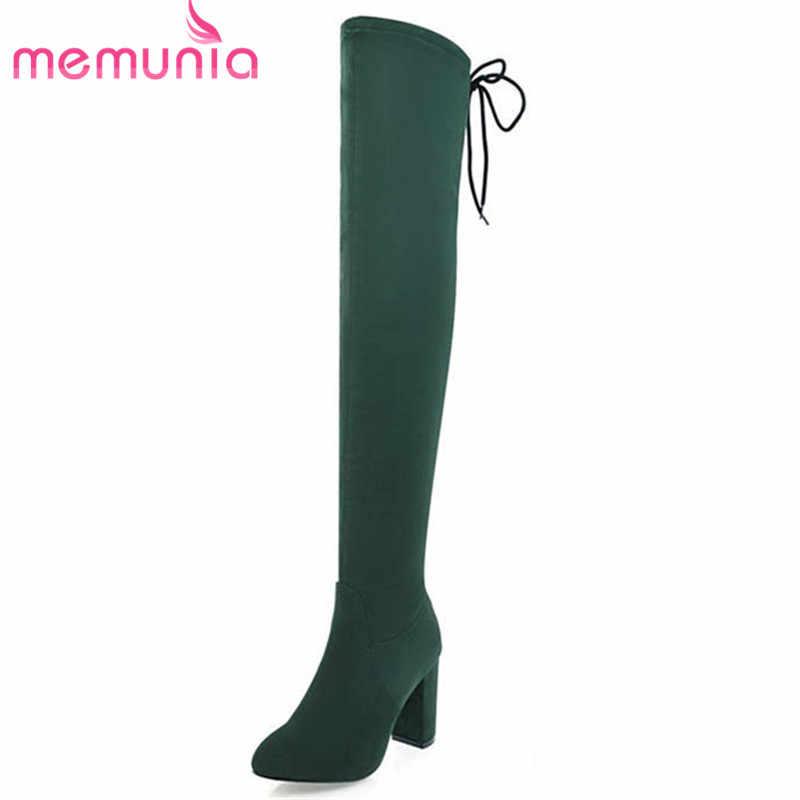 MEMUNIA 2020 สีดำใหม่ล่าสุดเข่ารองเท้าผู้หญิง flock ชี้ toe รองเท้าฤดูใบไม้ร่วงฤดูหนาวสูงรองเท้าส้นสูงรองเท้าส้นสูงชุดรองเท้า