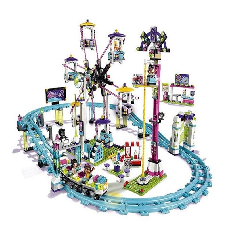 1124pcs diy Model building Block kits compatible with playmobil city friends Amusement Park 3D blocks building toys for children