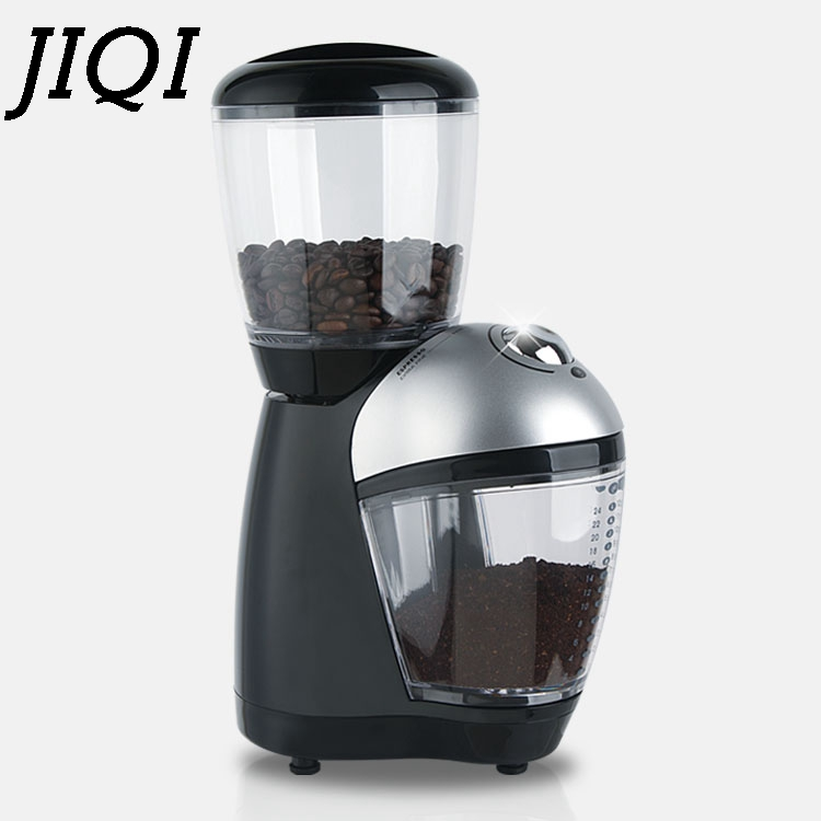 JIQI Electric Coffee Burr Grinders Italian Cafe Coffee Bean Grinding Machine Fine Miller Stainless Steel Blade 110V 220V EU US-in Electric Coffee Grinders from Home Appliances