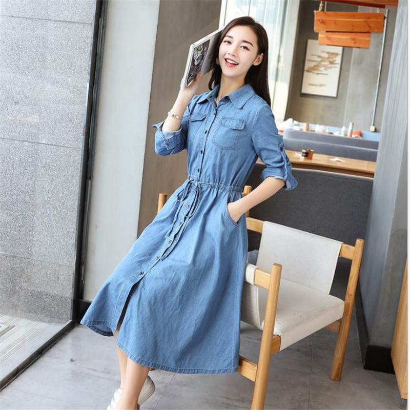 2e62ca04ac Spring 2018 Women Denim Dress Elegant Long Sleeve Tunic Office Party  Dresses Casual Jeans Vestidos With Belt High Quality CQ1921-in Dresses from  Women s ...