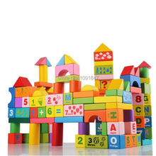 100pcs Alphanumeric Wooden Tower Block Toy for Children Stacker Extract Building Educational Colorful Toy