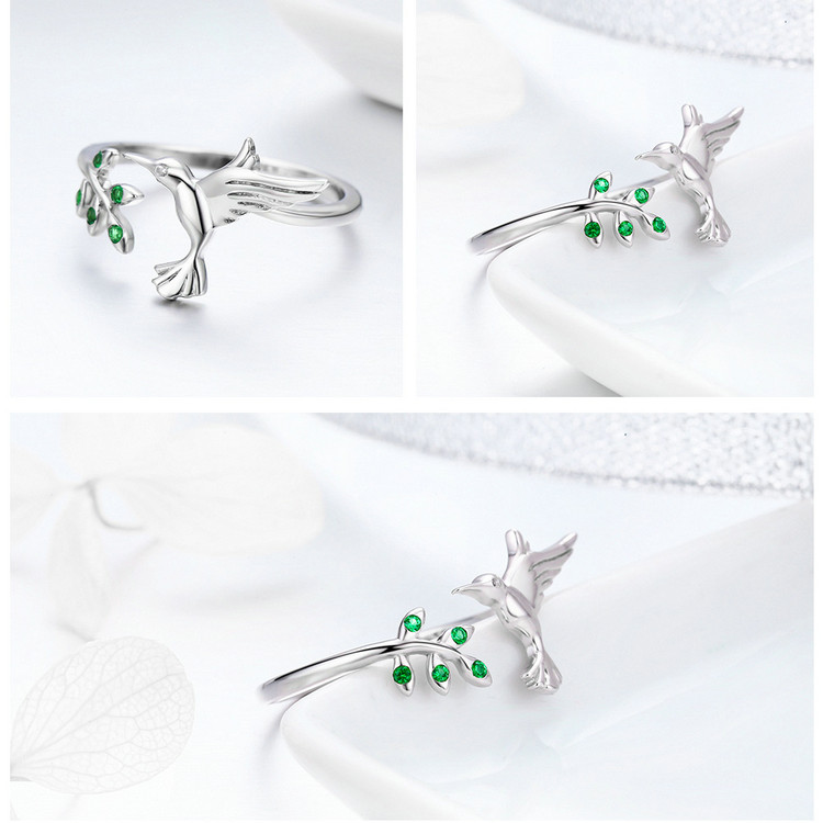 silver cute flying bird ring
