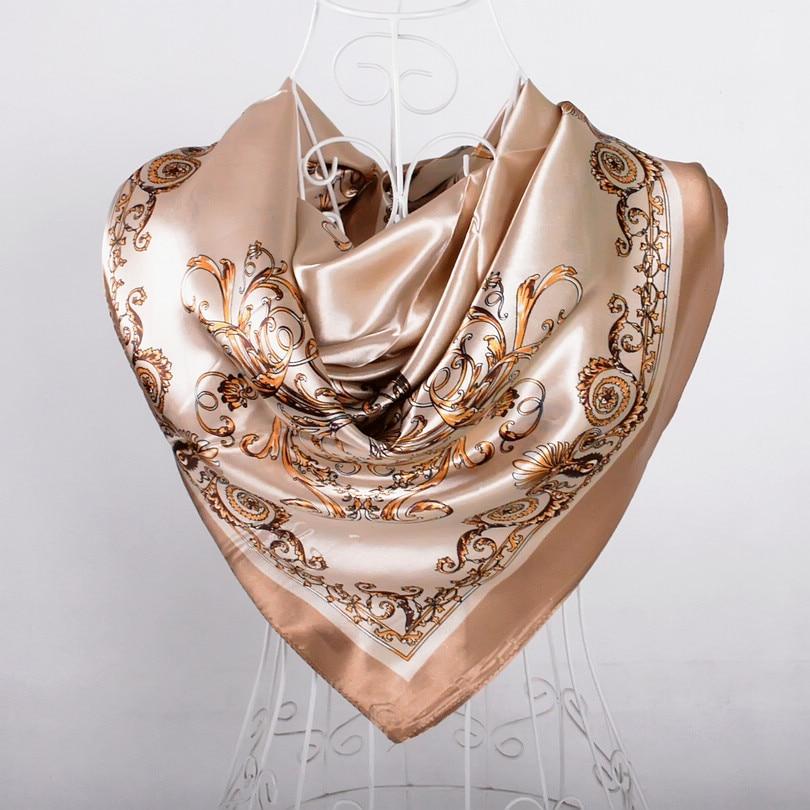 Дизайн женский Шелковый большой квадратный шелковый шарф из полиэстера, 90*90 см горячая Распродажа атласный шарф с принтом для весны, лета, осени, зимы - Цвет: khaki 525