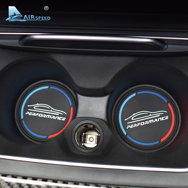 Airspeed 2PCS PERFORMANCE Car Coasters Cup Holder Mats For BMW G30 F10 F20 F30 E90 E60 E84 F34 F48 F07 F15 F16 E70 E71 F25 F26