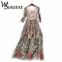 Runway Embroidered Dresses Women 2017 Half Sleeves Sheer Mesh Embroidery Party Dresses Vintage Bohemian Brand Vestidos