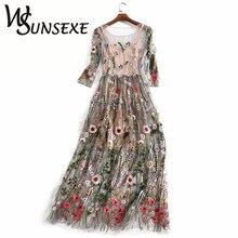 Взлетно-посадочной полосы вышитые платья 2017, женская обувь Половина рукава из прозрачной сетки с вышивкой Одежда для вечеринок старинные богемный бренд Vestidos De Festa