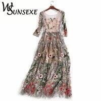 Runway Embroidered Dresses Women 2017 Half Sleeves Sheer Mesh Embroidery Party Dresses Vintage Bohemian Brand Vestidos