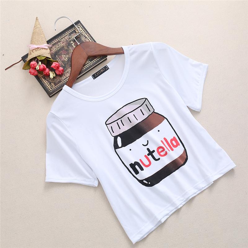 HTB18jXXRXXXXXayXXXXq6xXFXXXK - Nutella Crop Tops Summer T Shirt