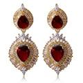 Big Earring Setting Top Grade AAA + Cubic Zirconia Gold Plated Drop Earrings for Women Fashion Wedding Jewelry