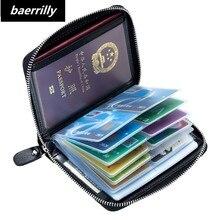 新しい本物の牛革抗盗難カードホルダークレジットカードケースオーガナイザーパスポートウォレット男性 Rfid ブロッキングカード財布財布