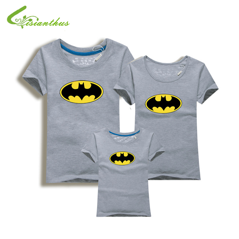 Family Look Batman T Shirts Summer Family Matching Clothes Father Mother Kids Cartoon Outfits New Cotton Tees Free Shipping 5XL
