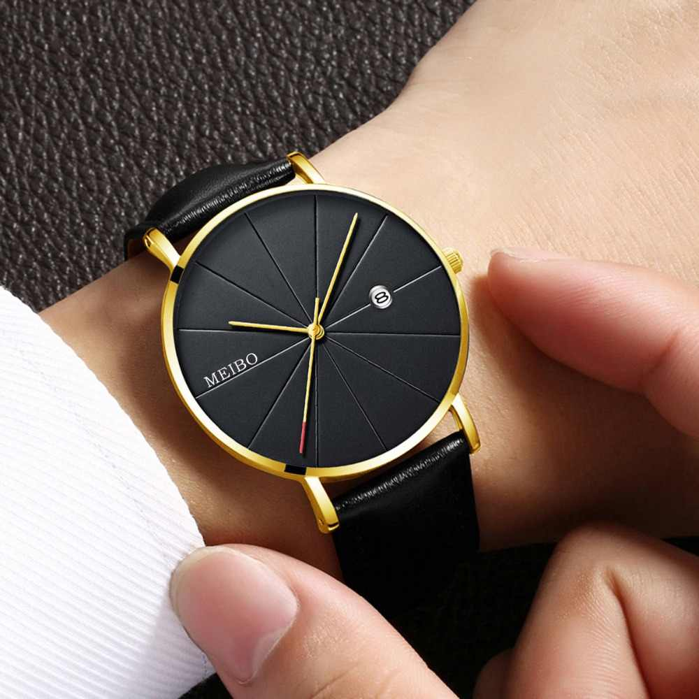 b4b9943ed229 ... Relogio Masculino Watches Men Luxury Brand Ultra-thin Complete Calendar  Leather Watch Men s Watch erkek ...