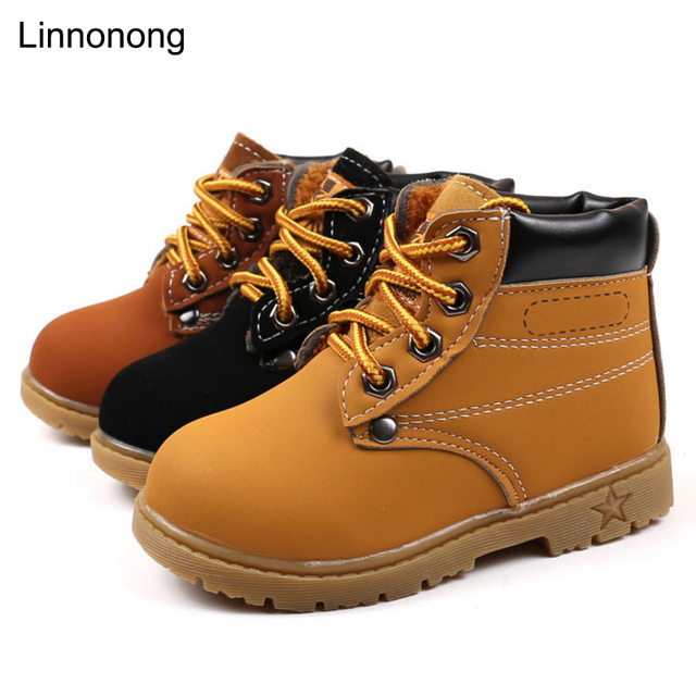 2b6713e49 Nuevo otoño niños botas amarillo zapatos PU cuero niños Martin botas para  niños niñas moda botas