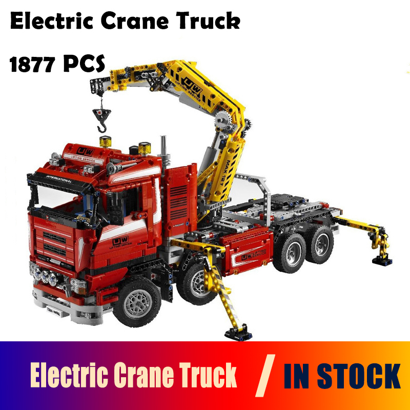 Model Building Blocks toys 20013 1877pcs Technic Ultimate Mechanical Series The Electric Crane Truck Compatible with lego 8258 new lepin 20013 technic series 1877pcs the electric crane truck model building blocks bricks compatible 8258 toy christmas gift