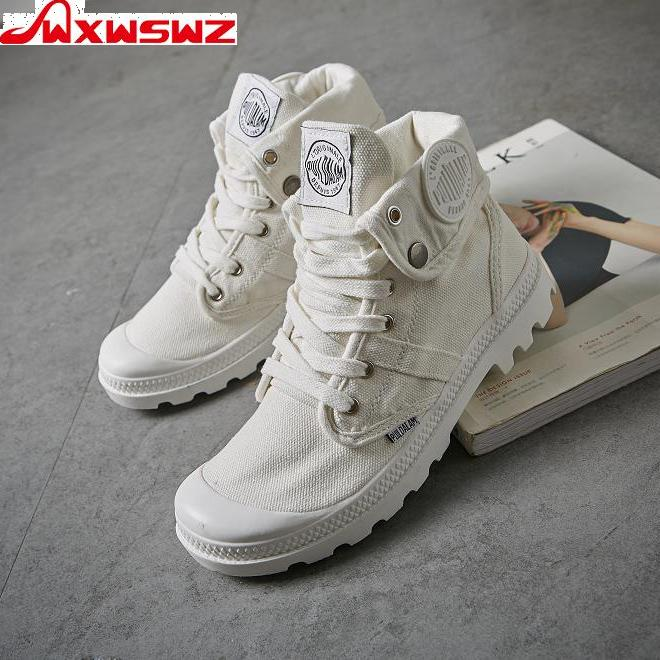 WXWSWZ 2020 Fashion High Top Sneakers Canvas Shoes Women Casual Shoes White Flat Female Basket Lace Up Solid Trainers Chaussure