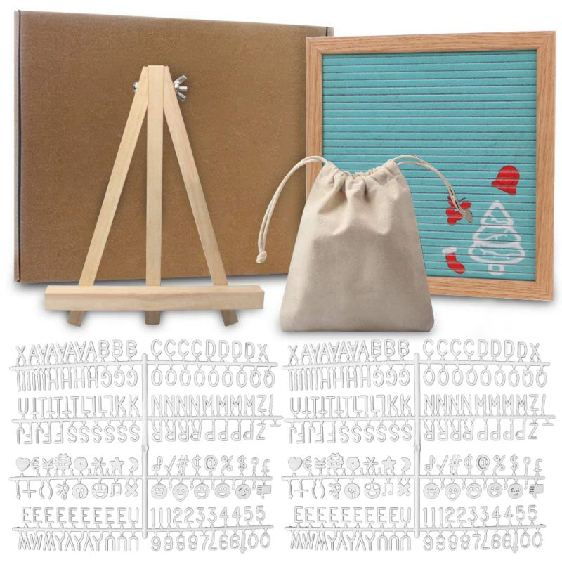 Felt Letter Board 10x10 Inch Solid Oak Wood Material With 340 White Letters Numbers Bag And Wood Easel