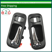 E2c Interior Door Handle Front Left Right Pair Chrome Black For CRV 97 01 Odyssey 95