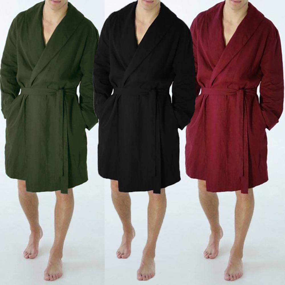 Men's Linen Pajama Casual Pure Color Cotton Linen Long Bathrobe Sexy Home Nightgown Pajamas Robe Nightgown Men Summer пижама(China)