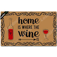 Doormat Entrance Floor Mat Rectangular Funny Doormat Outdoor Decorative Door Mat Shoes Pad Home is Where The Wine Is