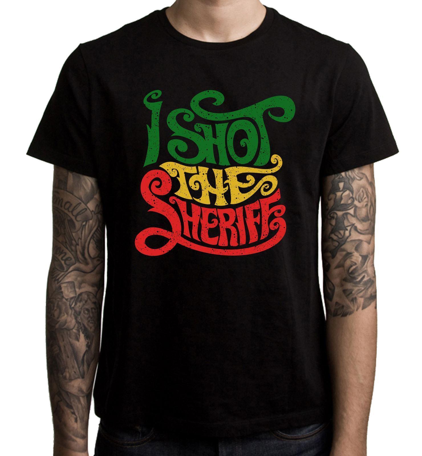 Я снимал шерифа регги Для мужчин футболка-раста Rastfarian Боб Марли Для мужчин Повседневное короткий рукав футболки