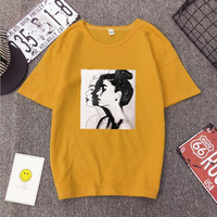 Новая мода футболка женская сезон: весна–лето с принтом для девочек короткий рукав с круглым вырезом из хлопка и спандекса Для женщин Топ ...