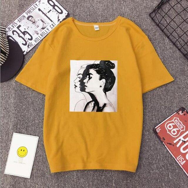 Girls Print Short Sleeve O Neck Cotton Spandex Top Slim Fit Soft T-shirt 1