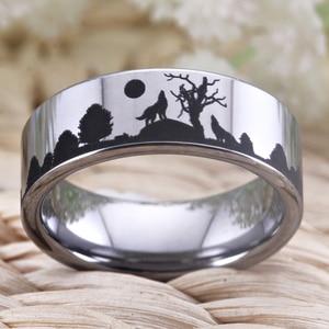 Image 4 - Bagues de mariage au Design loup, bague de fiançailles en tungstène de 8mm, bijoux de fête, avec boîte, livraison directe