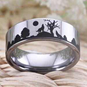 Image 4 - Wolf Design Ringe Für Frauen Männer Wedding Band Ring 8mm Wolfram Ring Partei Schmuck Engagement Ring Mit Ring box Drop Schiff