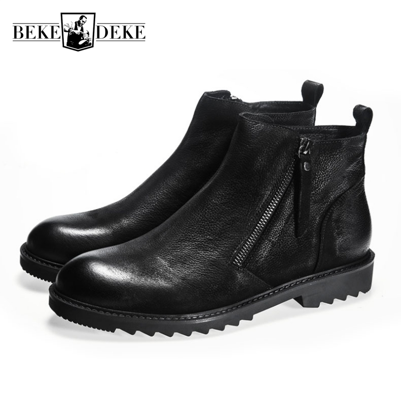 Winter New Mens Thick Leather Martin Boots British Style High Shoes Male Shoes Genuine Leather Cow Round Toe Zipper Ankle Shoes new arrival superstar genuine leather chelsea boots women round toe solid thick heel runway model nude zipper mid calf boots l63