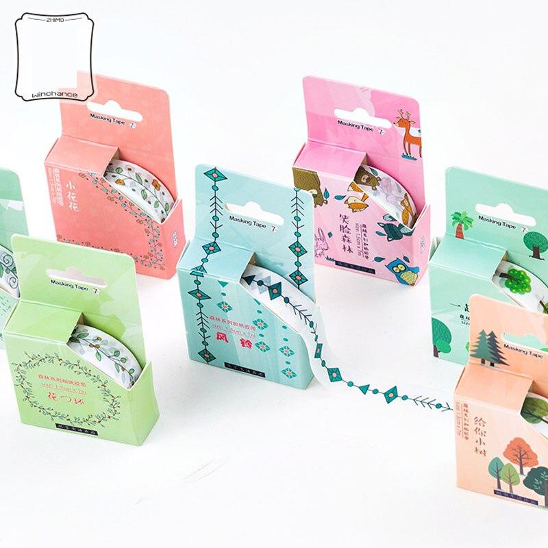 1.5CM*7M Fresh Various Green Tree Masking Tape Album Scrapbooking Decor Washi Tape Stick Label