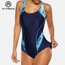 Attraco One Piece Women Sports Swimwear Swimsuit Colorblock Monokini Beach Bathing Suit Bikini Backless