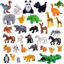 Legoing фигурка большого размера Счастливые Животные зоопарк овца Обезьяна Собака Кошка пиво Черепаха Кролик корова птица Фигурки игрушки для детей Duplo