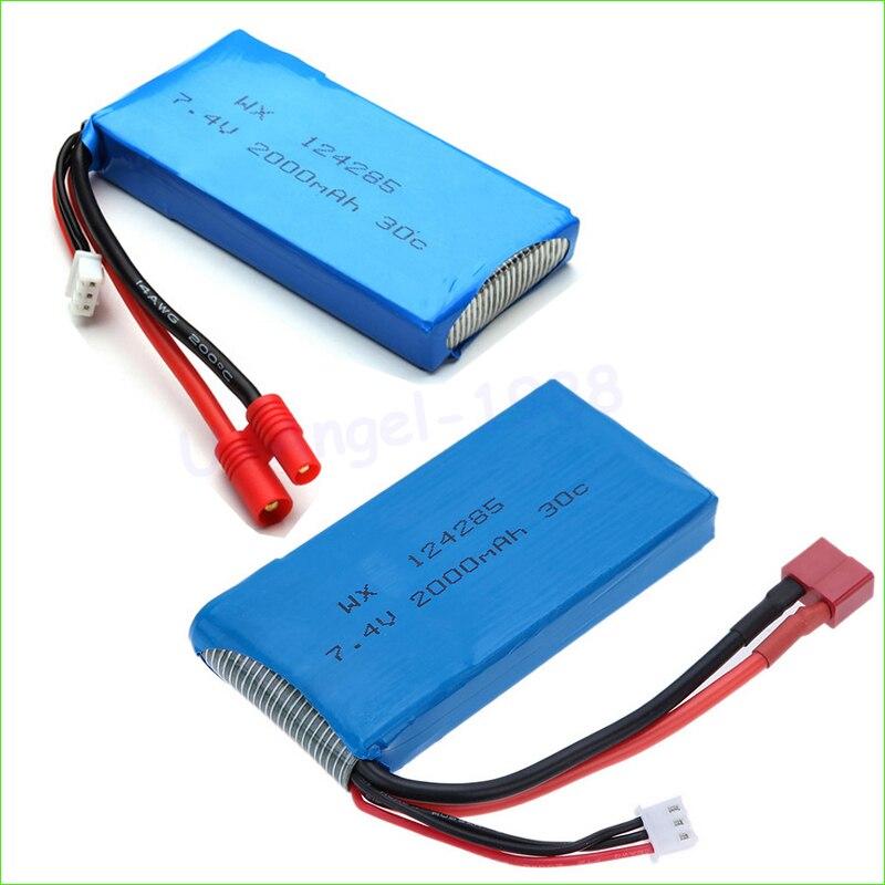 2pcs/lot Quadcopter spare parts <font><b>Syma</b></font> X8C <font><b>X8W</b></font> Spare Part 7.4V 2000mAh 30C T/Banana Plug Upgrade Lipo <font><b>Battery</b></font> Wholesale Dropship