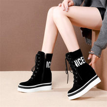 NAYIDUYUN     Women Shoes Genuine Leather Wedges Platform High Heel Motorcycle Boots Hi-Top Winter Warm Pumps Round Toe Sneakers