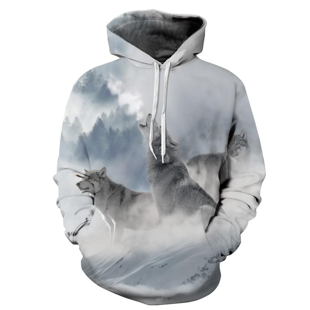 Ice Fire Wolf Head Print Hoodies Men Hoodie with Hat Round Neck Loose Sweatshirt Pullover Sudaderas Para Hombre Streetwear