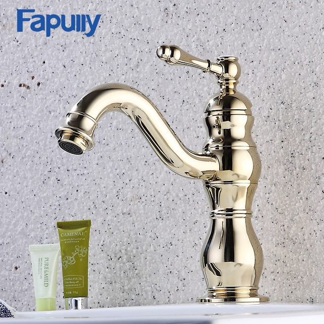 Fapully Basin Faucet Gold Bathroom Taps Deck Mounted Single Handle ...