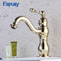 Fapully Basin Faucet Gold Bathroom Taps Deck Mounted Single Handle Gold Brass Bathroom Basin Water Mixer Taps