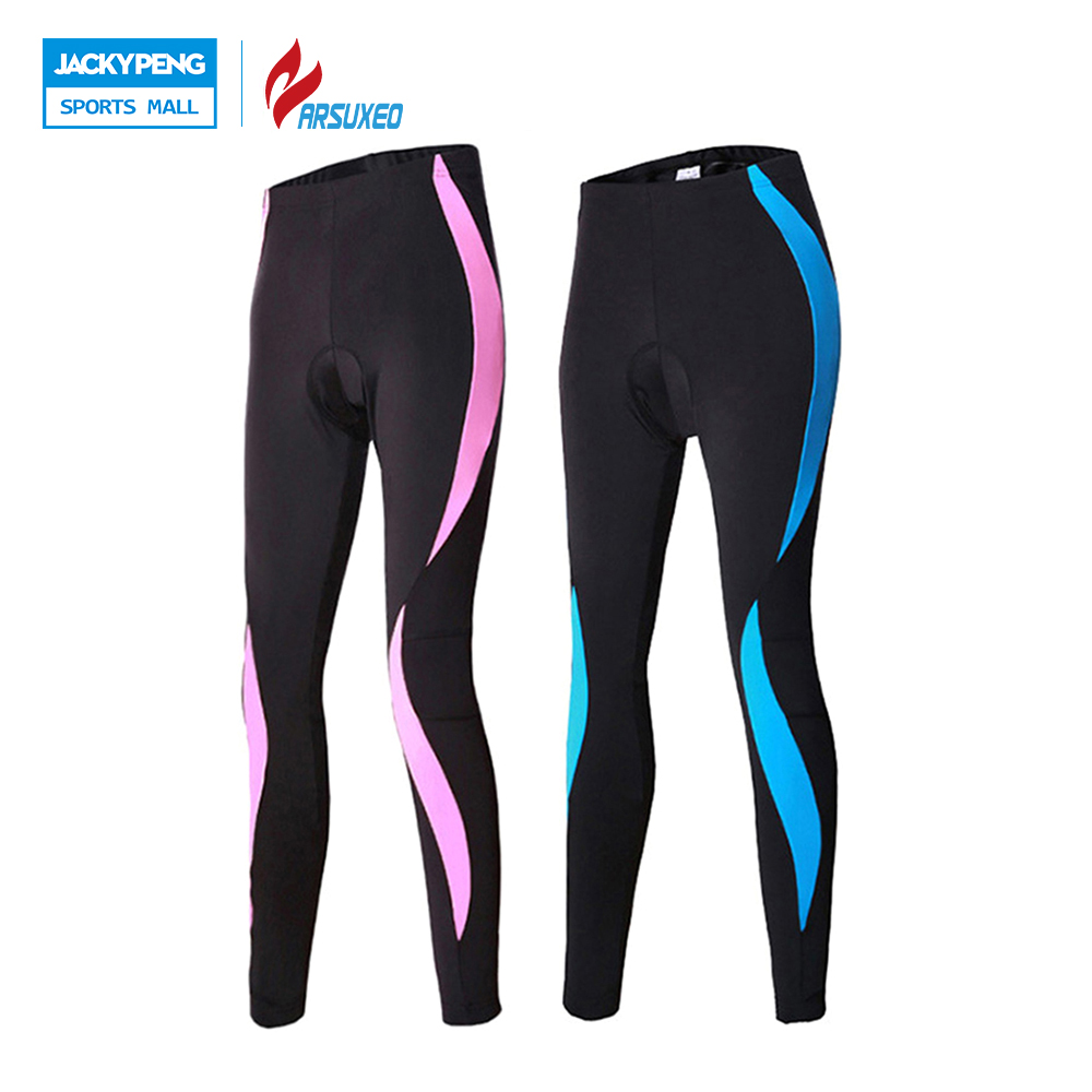 ARSUXEO Compression Exercise Women Outdoor Sports Tights Pants Cycling Bike Bicycle 3D Coolmax Padded Pants Clothing