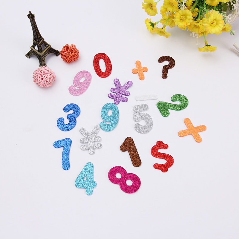 Cartoon Glittering effect diy Stickers for children kids baby home decoration Decals Numbers and letters EVA foam wall sticker in Wall Stickers from Home Garden