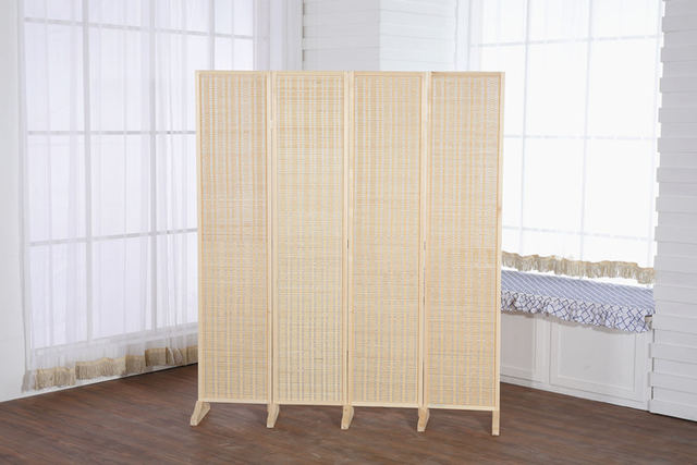Online Shop Decorative 4 Panel WoodBamboo Folding Room Divider