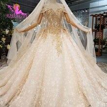 AIJINGYU Elfenbein Kleid Kleider Shenzhen Vintage 3D Luxus Braut Medieval Spitze Einzigartige Kleid Preiswert Hochzeit Kleider In Der Nähe Von Mir