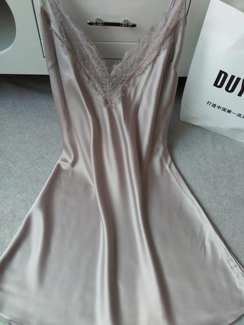 Sexy women summer style 2015 real silk sleepwear hot nightwear mini nightgowns tempatation deep v straps skirts free shipping