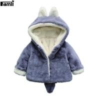 Famli Newborn Kids Winter Coats Infant Baby Girl Thick Fake Fur Warm Boys Solid Casual Hooded