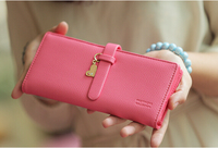 2015 New Women Fashion Elegant Cute Solid Nubuck Leather Slim Belt Designer Medium Long Organizer Wallets