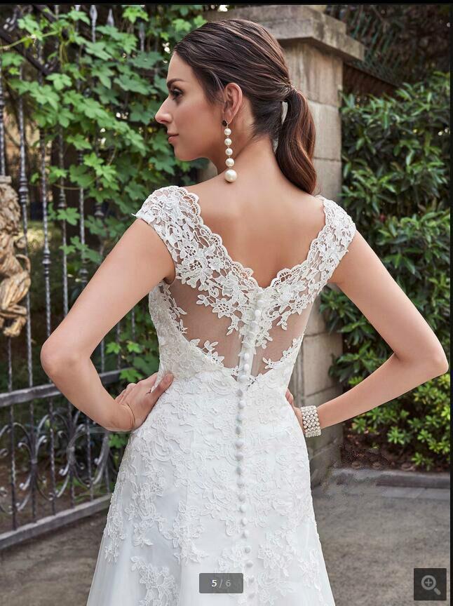 Vestido De Noiva Sexy African Cap Sleeve Lace Wedding Dress