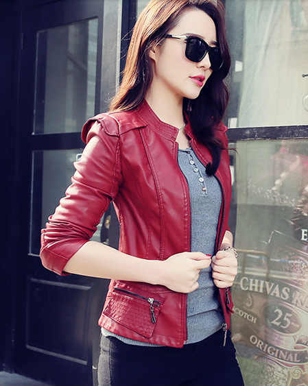 3f2d736a5068a ... FTLZZ 2019 New Faux Leather Jacket Woman Spring Autumn Short Slim Soft PU  Jacket Wine Red ...