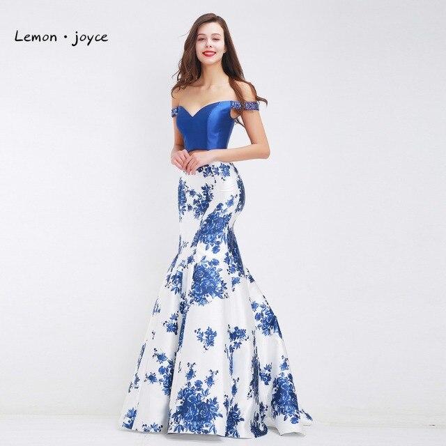 Formal azul impresión floral sirena Vestidos de noche para las ...