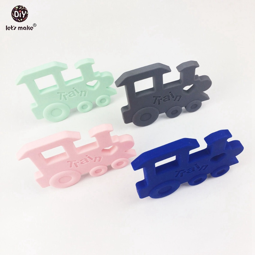 Let's make Silicone Teething Train Shape Loli Color Orginal Baby Teether Pendant Nursing Necklace Charms Baby Shower Gift 2pcs